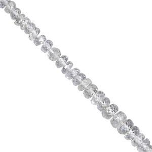 9cts Ice Sapphire Faceted Rondelle Approx 1.5x1 to 4x1.5mm, 12cm Strand