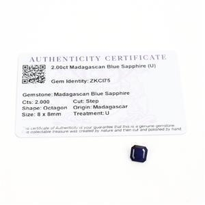 2cts Madagascan Blue Sapphire 8x8mm Step  (D)