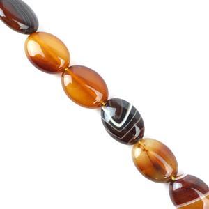 230cts Coffee Stripe Agate Puffy  Ovals Approx 13x18 mm, 38cm/strand