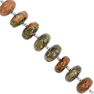 75cts Unakite Plain Rondelle Approx 9x5 to 12.5x6mm, 7cm Strand with Spacers