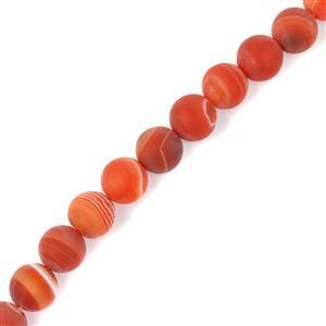 240cts Dyed Red Stripe Agate Matte Rounds Approx 10mm, 38cm
