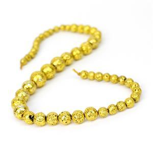 160cts Gold Lava Rock Graduated Plain Rounds Approx 6 to12mm, 38cm Strand