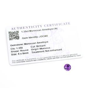 1.35cts Moroccan Amethyst Round Brilliant 8x8mm