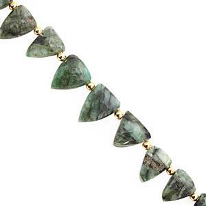 35cts Emerald Bottom Side Dril Graduated Faceted Triangle Approx 7x6 to 13x10mm, 15cm Strand With Spacers