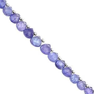 15cts Tanzanite Top Side Drill Faceted Heart Approx 5x4.5 to 7x8mm, 10cm Strand with Spacers