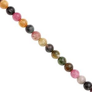 68cts Multi Toumaline Smooth Round Approx 5 to 6.5mm, 20cm Strand