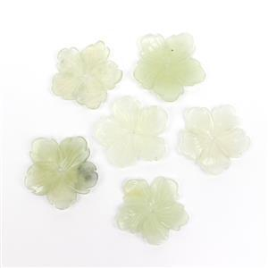 Last Of Stock! 2x 100cts Serpentine Five-Petal Flower Pendants Approx 40mm, Pack of 6