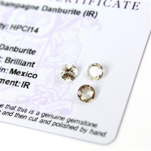 1.3cts Champagne Danburite 5.25x5.25mm Round Pack of 3 (I)