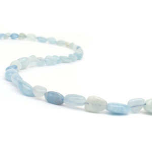 100cts Aquamarine Small Tumbled Stones Approx 6x9mm, 38cm strand