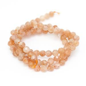 30cts Golden Spot Sunstone Faceted Rounds Approx 4mm, 38cm Strand