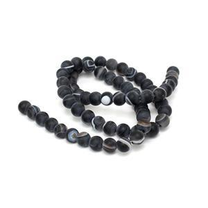 90cts Dyed Black Stripe Agate Matte Rounds Approx 6mm, 38cm