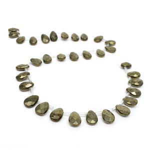 180cts Pyrite Faceted Top-Drilled Puffy Pears,  Approx 12x8mm, 33pcs/strand