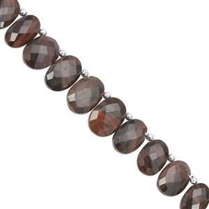 76cts Golden Sheen Obsidian Corner Drill Faceted Oval Approx 10x7 to 15x11mm, 15cm Strand with spacers