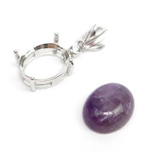 925 Sterling Silver Oval Bezel Pendant Approx 9x23mm & Amethyst Oval Cabochon Approx 10x12mm