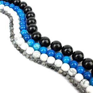 Tempest; Jet, Larvikite, Dyed Blue Fire Agate & Howlite