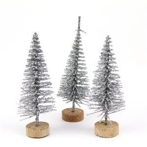 Silver Bottle Brush Tree, Approx.6-7cm (3pk)