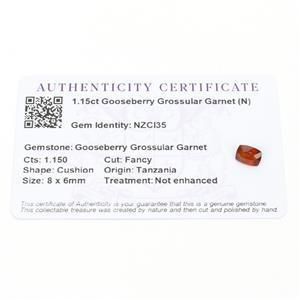 1.15cts Gooseberry Grossular Garnet 8x6mm Cushion  (N)