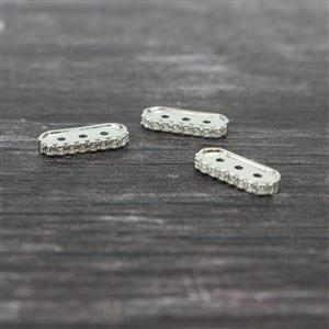 925 Sterling Silver Triple Row Cubic Zirconia Spacer Approx 14x6mm, 3pcs