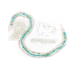 Sugar Sweet Chainmaille Goddess Bracelet Kit with Beryl & Amazonite