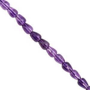 60cts Dark Amethyst Center Drill Smooth Drop Approx 7.5x6 to 9x6.5mm, 20cm Strand