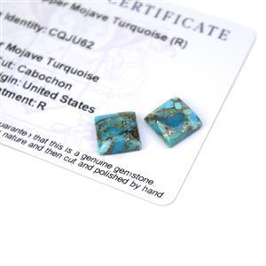 6.5cts Copper Mojave Turquoise 10x10mm Square Pack of 2 (R)