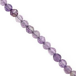 10cts Rose De France Amethyst Micro Faceted Round Approx 2mm, 32cm Strand