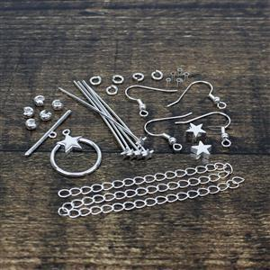 Silver Plated Base Metal Star Findings Pack (28pcs)