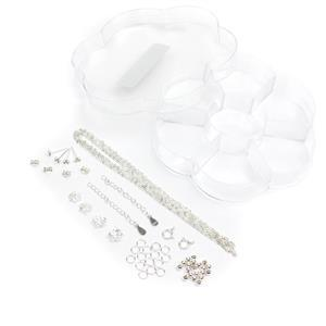 Flower Shaped Acryllic Box With 48pcs 925 Sterling Silver Findings