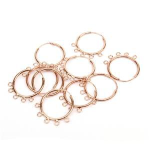 Rose Gold Plated Base Metal Earring Hoops with Loops, 25mm, (5 pairs)