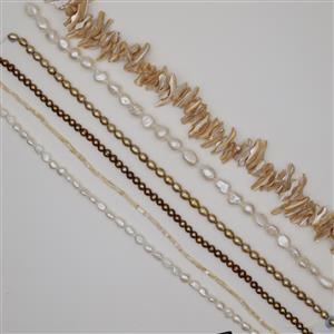 6 x 38cm Strands Mixed Freshwater & Shell Pearl - Golden Goddess