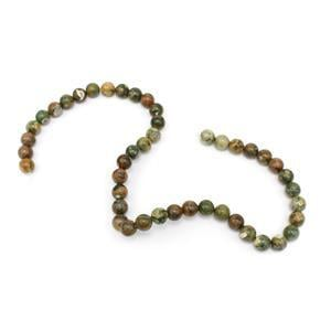 160cts Rhyolite Plain Round Loose Beads Strand Approx 8mm 38cm