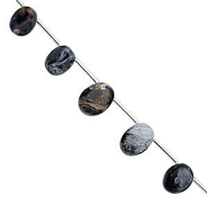 32cts Pietersite Top Side Drill Graduated Smooth Oval Approx 10x8 to 13.5x10.5mm, 16cm Strand with Spacers