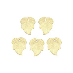 Gold Colour Brushed Base Metal Leaf Charms, Approx 15x12.5mm (25pk)