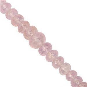 35cts Morganite Graduated Faceted Rondelle Approx 4x2 to 7x4mm, 14cm Strand