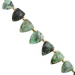 35cts Emerald Bottom Side Drill Graduated Faceted Fancy Approx 6x5 to 12x9mm, 15cm Strand With Spacers