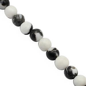 190cts Zebra Jasper Smooth Plain Round Approx 8mm, 38cm Strand
