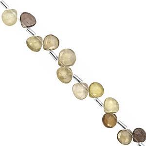 35cts Shaded Lemon Quartz Top Side Drill Faceted Heart Approx 6 to 8mm, 20cm Strand with Spacers