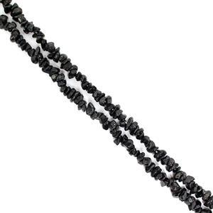 """240cts Black Spinel Small Chips Approx 2x4 to 4x7mm, 32-34"""" Strand"""