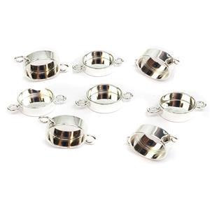 Silver Plated Base Metal Connector Round Bezels, 19x13mm (8pk)