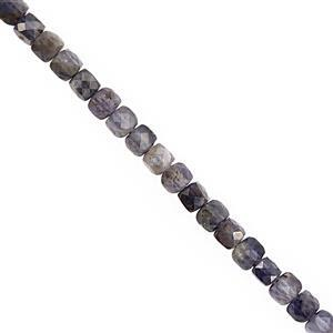 55cts Iolite Faceted Cube Approx 3.50 to 4.50mm, 38cm Strand