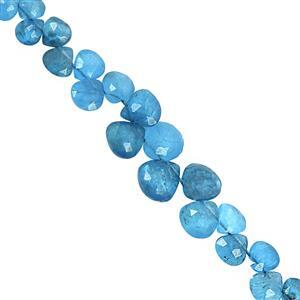 25cts Neon Apatite Top Side Drill Graduated Faceted Heart Approx 4 to 7mm, 14cm Strand with Spacers