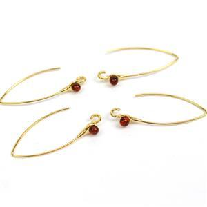 Gold Plated Sterling Silver Earring Hooks with 3mm Baltic Cognac Amber (2 pairs)
