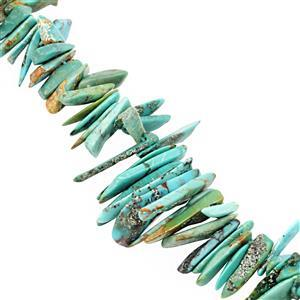 58cts Sleeping Beauty Turquoise Smooth Fancy Teeth Approx 6x1 to 18.5x3.5mm, 20cm Strand
