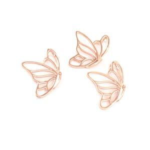 Rose Gold Plated 925 Sterling Silver Filigree Butterfly in Flight Pendants Approx 16x20mm 3pc
