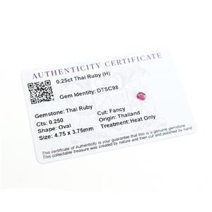 0.471cts Thai Ruby fancy Oval 4.75x3.75mm