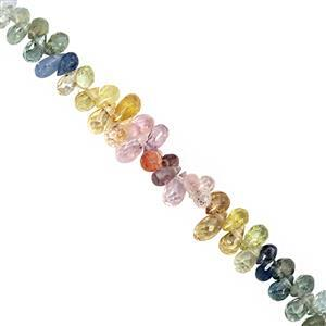 8cts Multi Sapphire Top Side Drill Graduated Faceted Drops Approx 3.5x1.5 to 4x2.5mm, 9cm Strand.