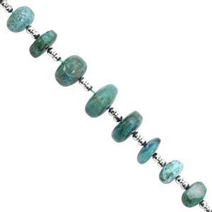 65cts Chrysocolla Graduated Smooth Rondelle Approx 5x2 to 13x5mm, 16cm Strand with Spacer