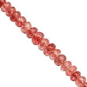 65cts Strawberry Quartz Graduated Smooth Rondelle Approx 4x3 to 8x5mm, 20cm Strand