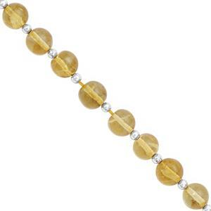 32cts Citrine Graduated Smooth Round Approx 5 to 6.50mm, 12cm Strand with Spacers