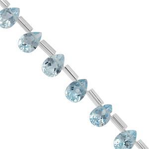 18cts Sky Blue Topaz Top Side Drill Faceted Pear Approx 5.5x3.5 to 7x5mm, 20cm Strand with Spacers